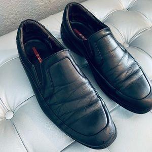 Prada Men's Black Leather Slip on Loafers - 9M